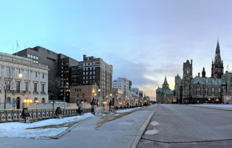 Photo wallpaper photo, Home, Winter, The city, Street, Road, Canada, Ontario, Ottawa, Street lights
