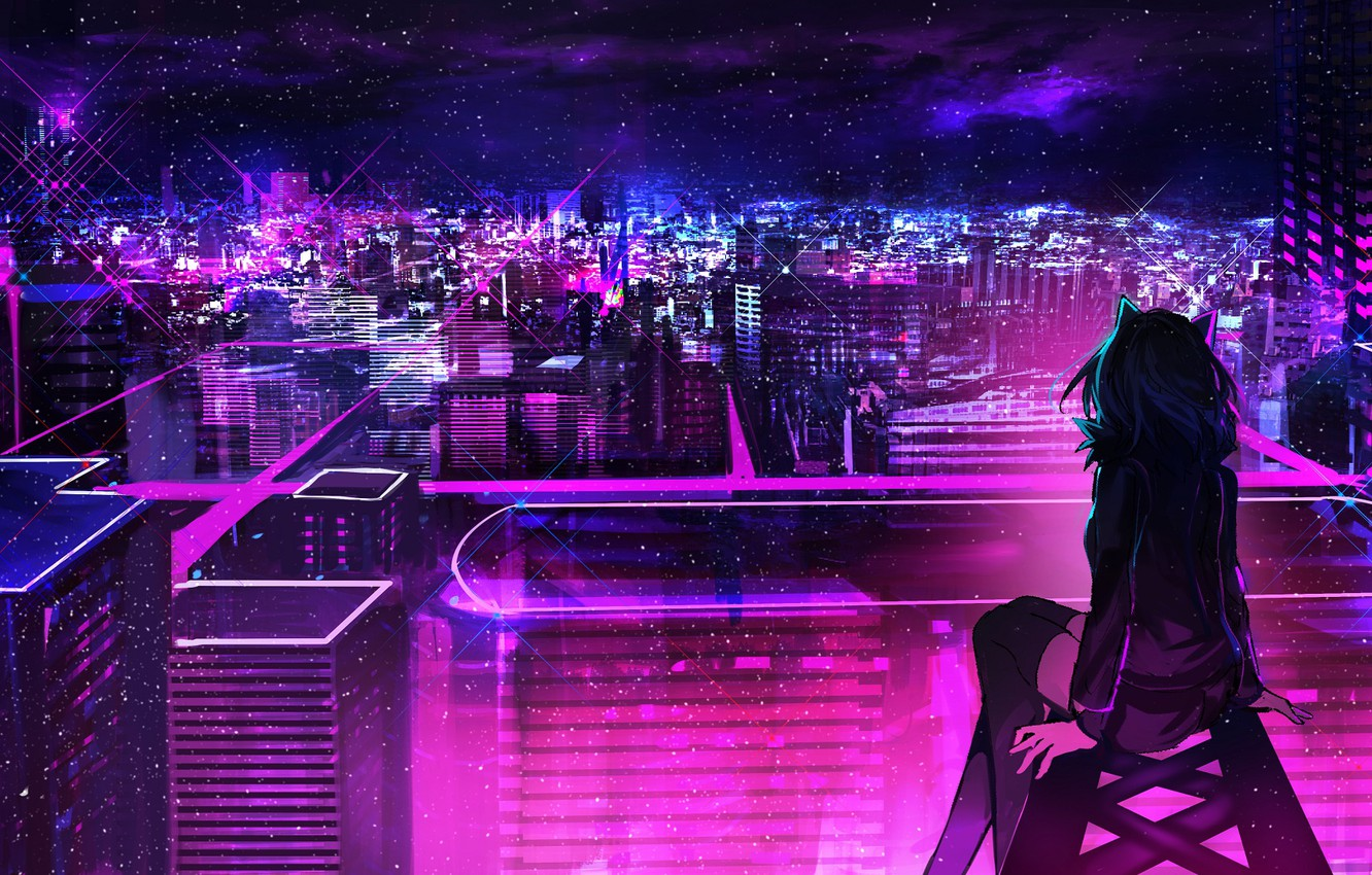 Wallpaper Roof Girl Night The City Neon Images For Desktop Section Art Download