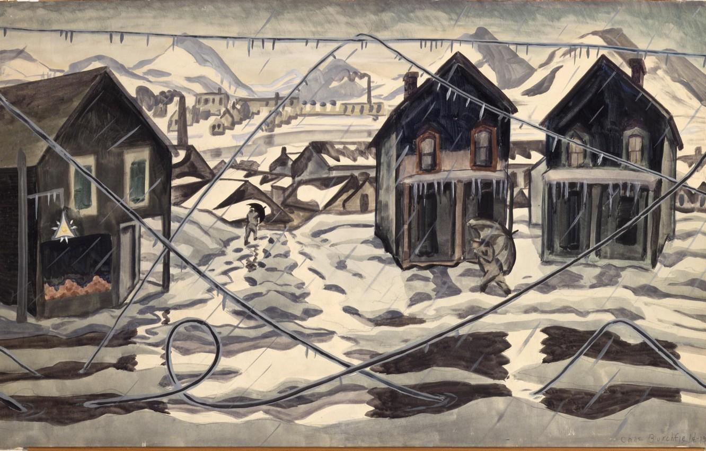 Photo wallpaper 1920, Charles Ephraim Burchfield, Ice Storm, Wires Down