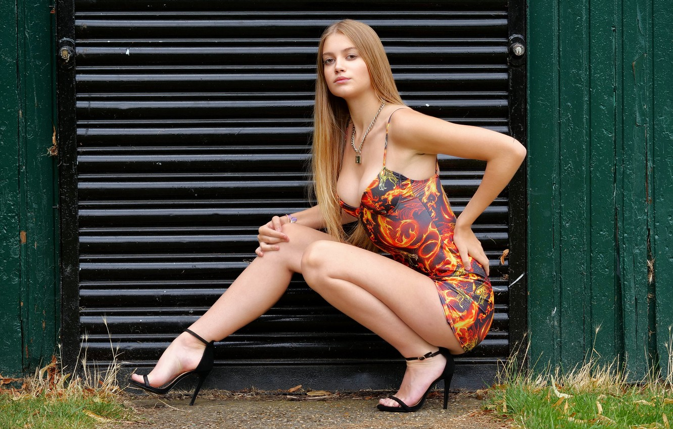 Photo wallpaper sexy, model, Sophie, long-haired, dress, beautiful legs