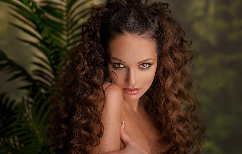 Photo wallpaper look, girl, sexy, makeup, beauty, curls, Eugene Balin