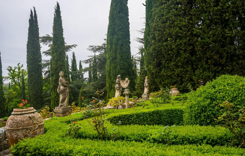 Photo wallpaper summer, nature, Villa, garden, Italy, the bushes, Italy, nature, sculpture, garden, Tuscany