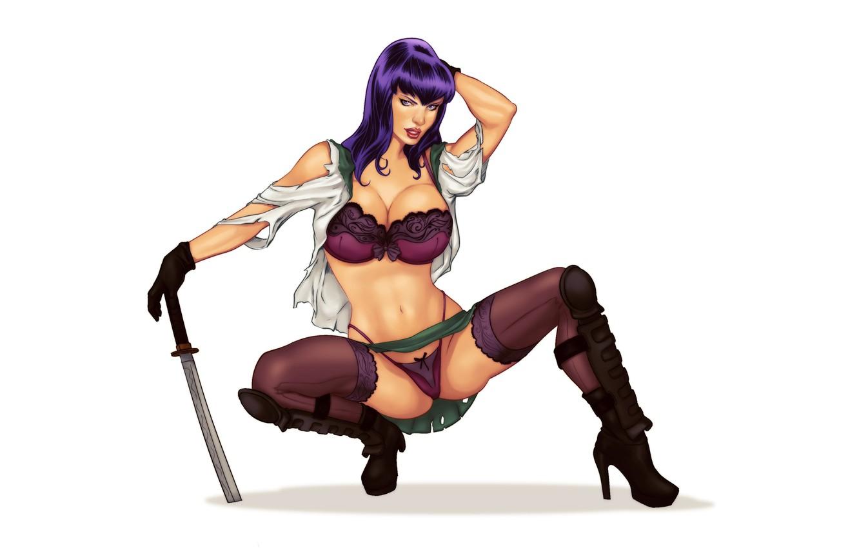 Photo wallpaper erotic, girl, sword