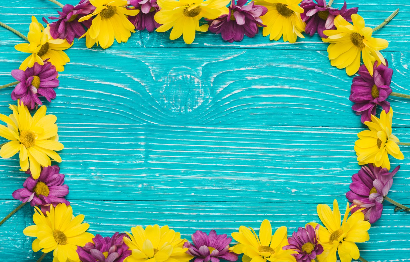 Wallpaper Flowers Background Blue Blue Yellow Wood