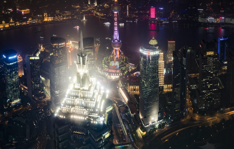 Photo wallpaper light, night, the city, lights, China, Shanghai