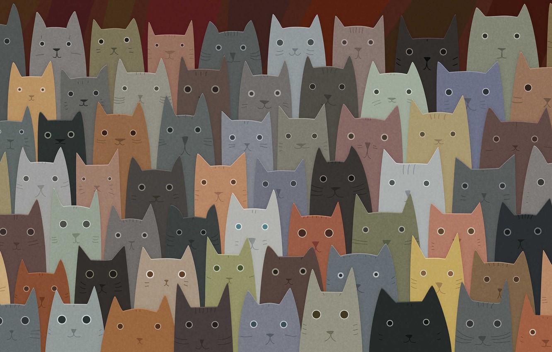 Photo wallpaper cats, art, a lot, faces