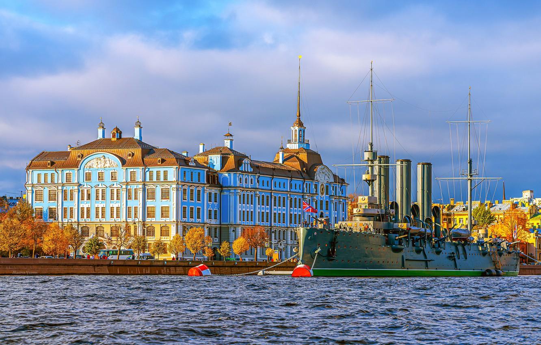 Photo wallpaper autumn, trees, river, the building, Saint Petersburg, Aurora, Russia, Museum, promenade, Petrogradskaya embankment, Nakhimov naval …