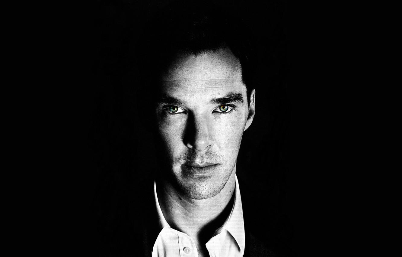 Photo wallpaper look, black background, Benedict Cumberbatch, Benedict Cumberbatch
