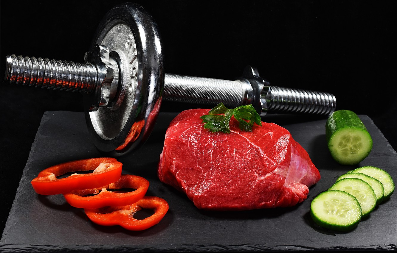 Photo wallpaper meat, vegetables, dumbbell, healthy life