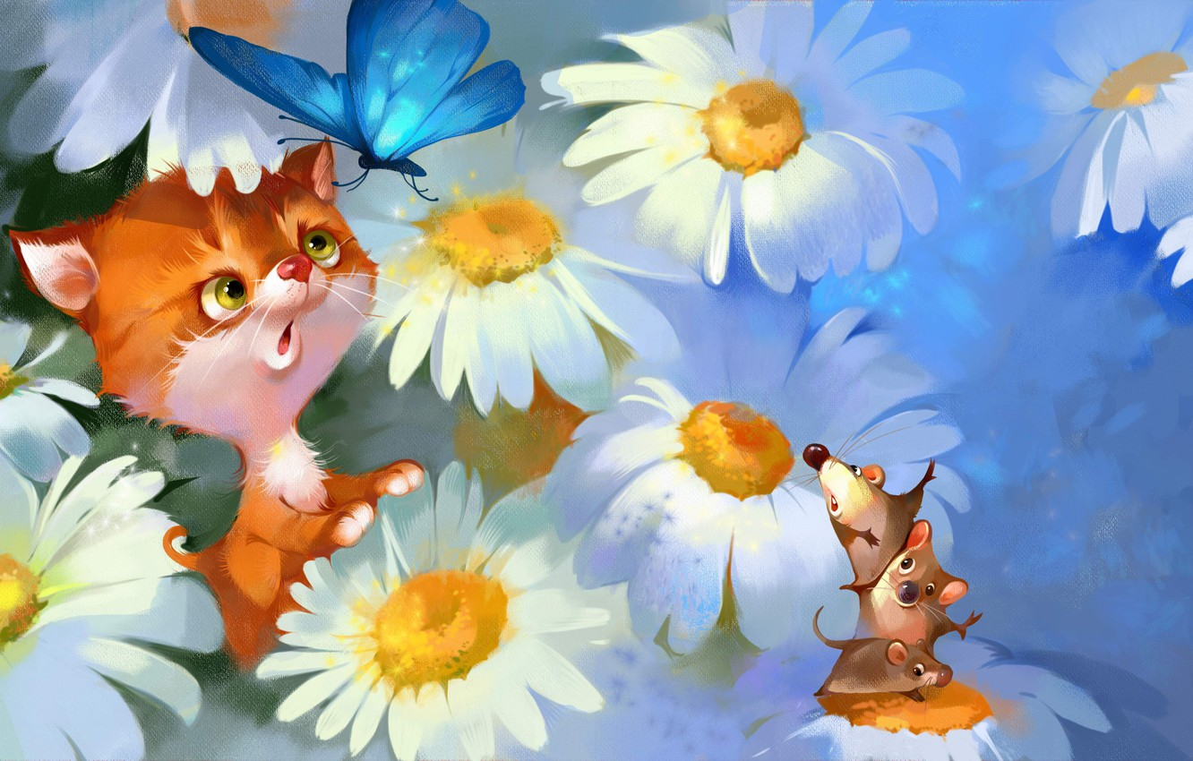 Photo wallpaper animals, cat, flowers, butterfly, figure, chamomile, mouse