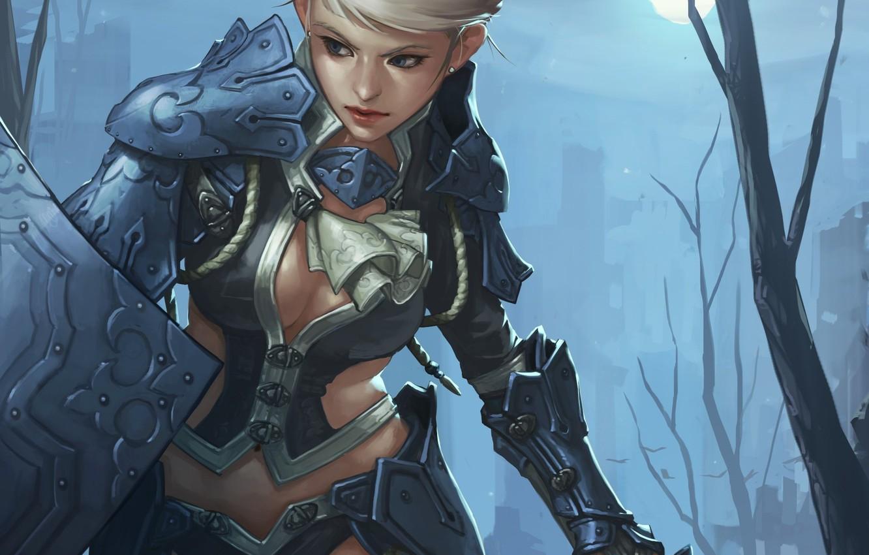 Wallpaper Girl Moon Sword Fantasy Cleavage Armor