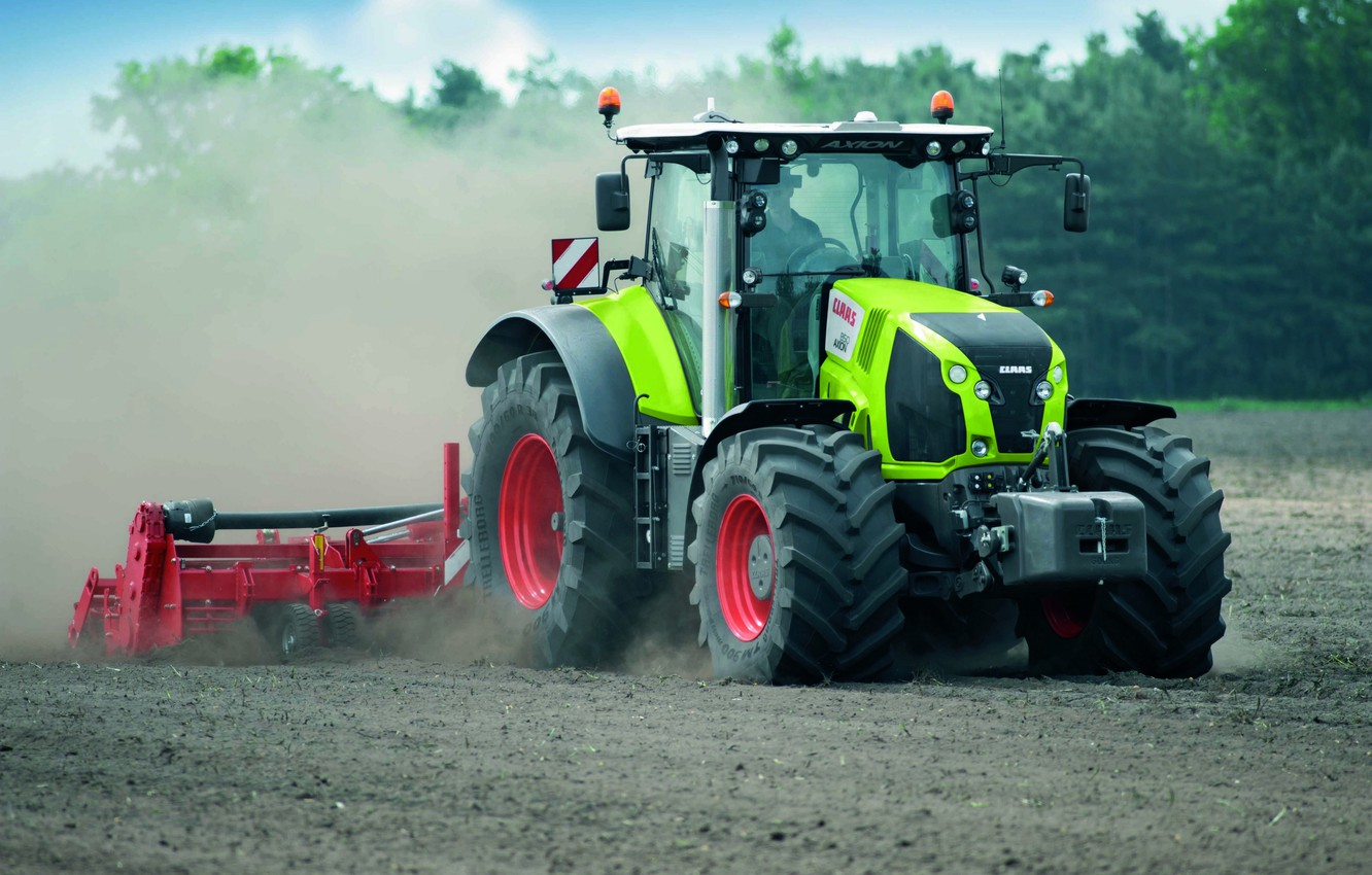 Photo wallpaper earth, dust, tractor, Claas, Axion 800