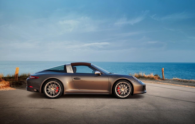 Photo wallpaper coast, Porsche, 4x4, Biturbo, Targa, special model, 911 Targa 4 GTS, Exclusive Manufaktur Edition