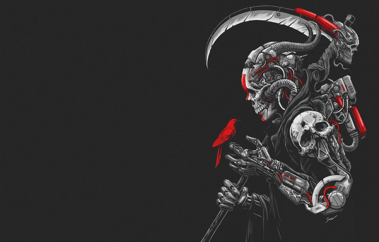 Photo wallpaper Minimalism, Skull, Robot, Bird, Braid, Art, Cyborg, Cyberpunk, Sony Wicaksana, by Sony Wicaksana, DEATH MACHINE