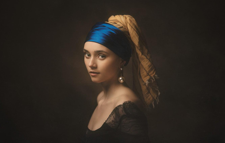 Photo wallpaper look, girl, face, the dark background, portrait, earrings, dress, headband, shoulders, headdress