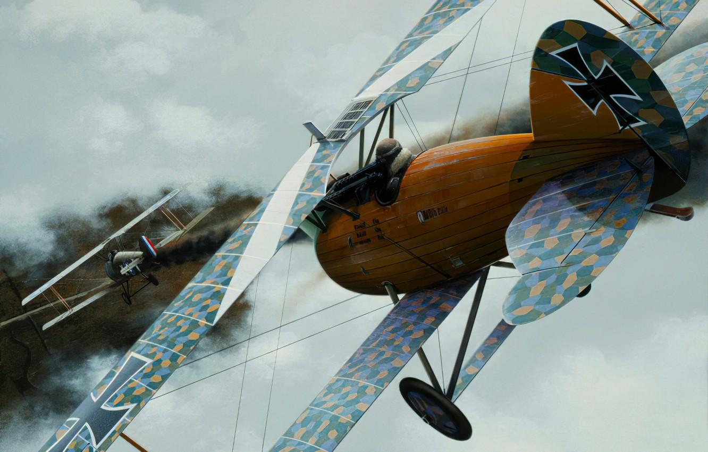 Photo wallpaper art, airplane, biplane, ww1, aviaiton