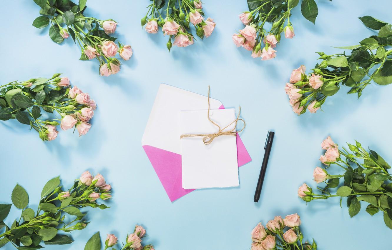 Photo wallpaper roses, handle, the envelope, bouquets