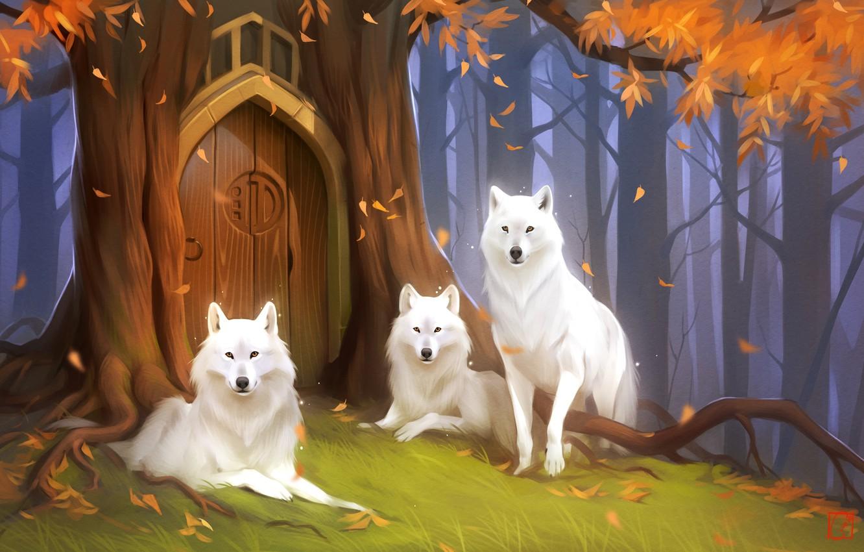 Photo wallpaper forest, wolf, the door, fantasy, art, Keepers, Alexander Khitrov, Art GaudiBuendia