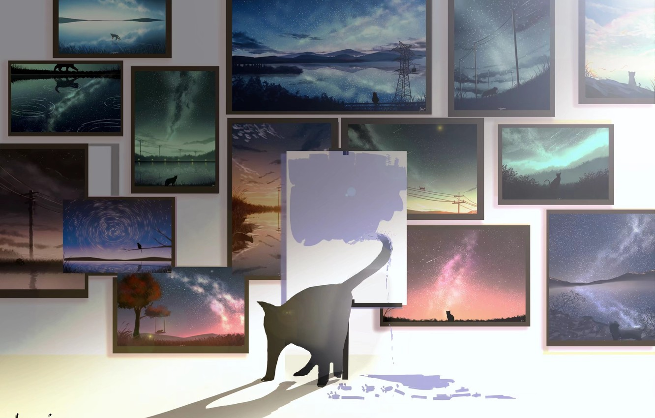 Photo wallpaper cat, pictures, draws