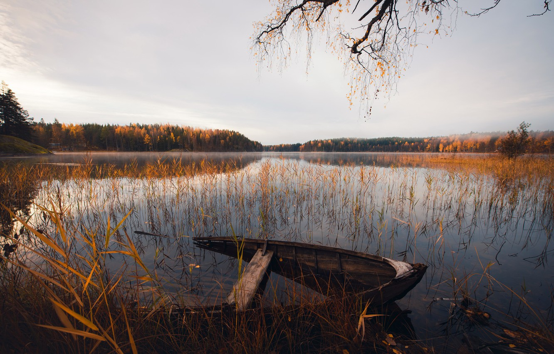 Photo wallpaper autumn, lake, boat