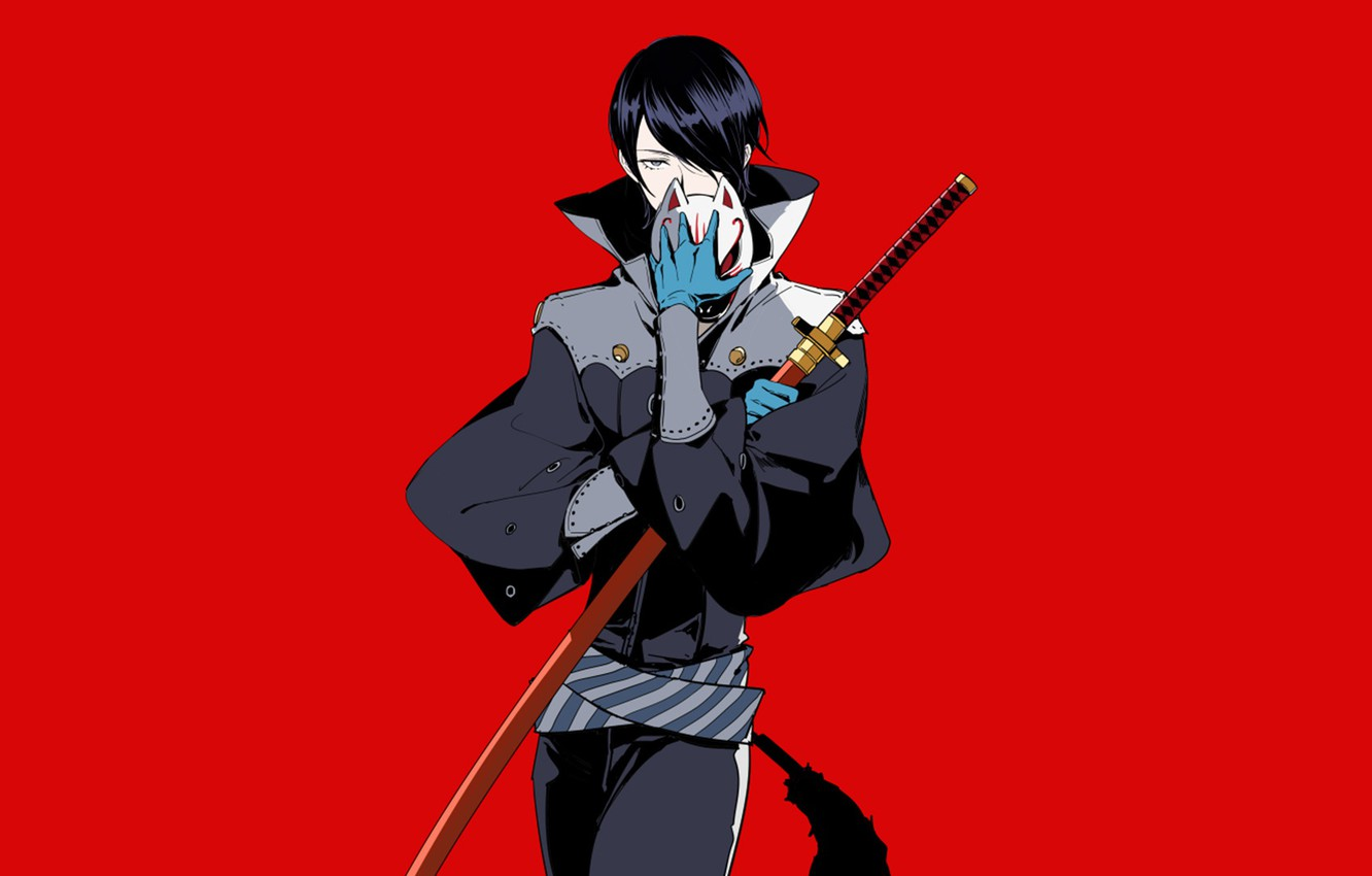 Wallpaper The Game Sword Anime Art Guy Red Background Person
