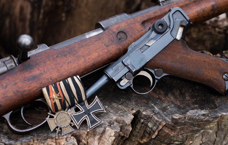 Wallpaper Rifle Luger Pistol Iron Cross Images For Desktop