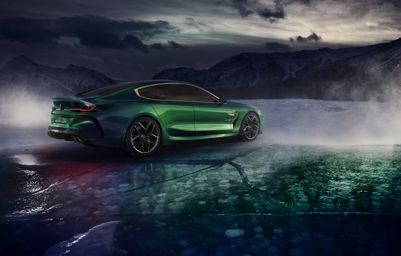 Photo wallpaper mountains, clouds, coupe, ice, BMW, back, side, 2018, M8 Gran Coupe Concept