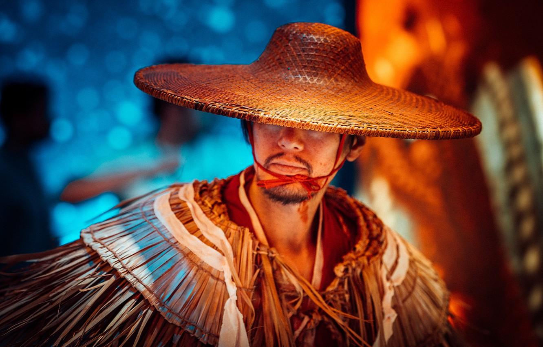 Photo wallpaper hat, male, Asian