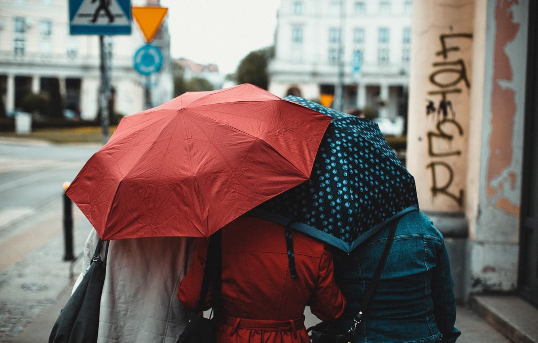 Photo wallpaper girls, street, the transition, umbrellas, Erik Witsoe