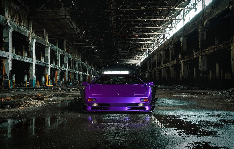 Photo wallpaper Auto, Lamborghini, Machine, Car, Purple, Car, Render, Diablo, Rendering, The front, Sports car, The room, …