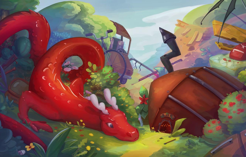 Wallpaper dragon, fantasy, art, house, children's, Guardians