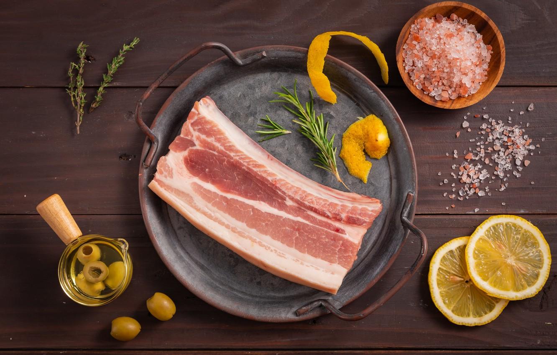 Photo wallpaper lemon, meat, olives, salt