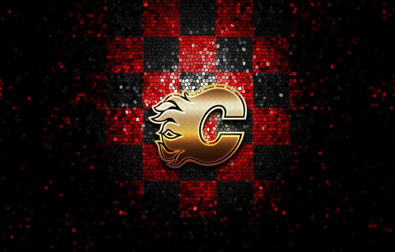 Wallpaper Wallpaper Sport Logo Nhl Hockey Glitter Checkered Calgary Flames Images For Desktop Section Sport Download
