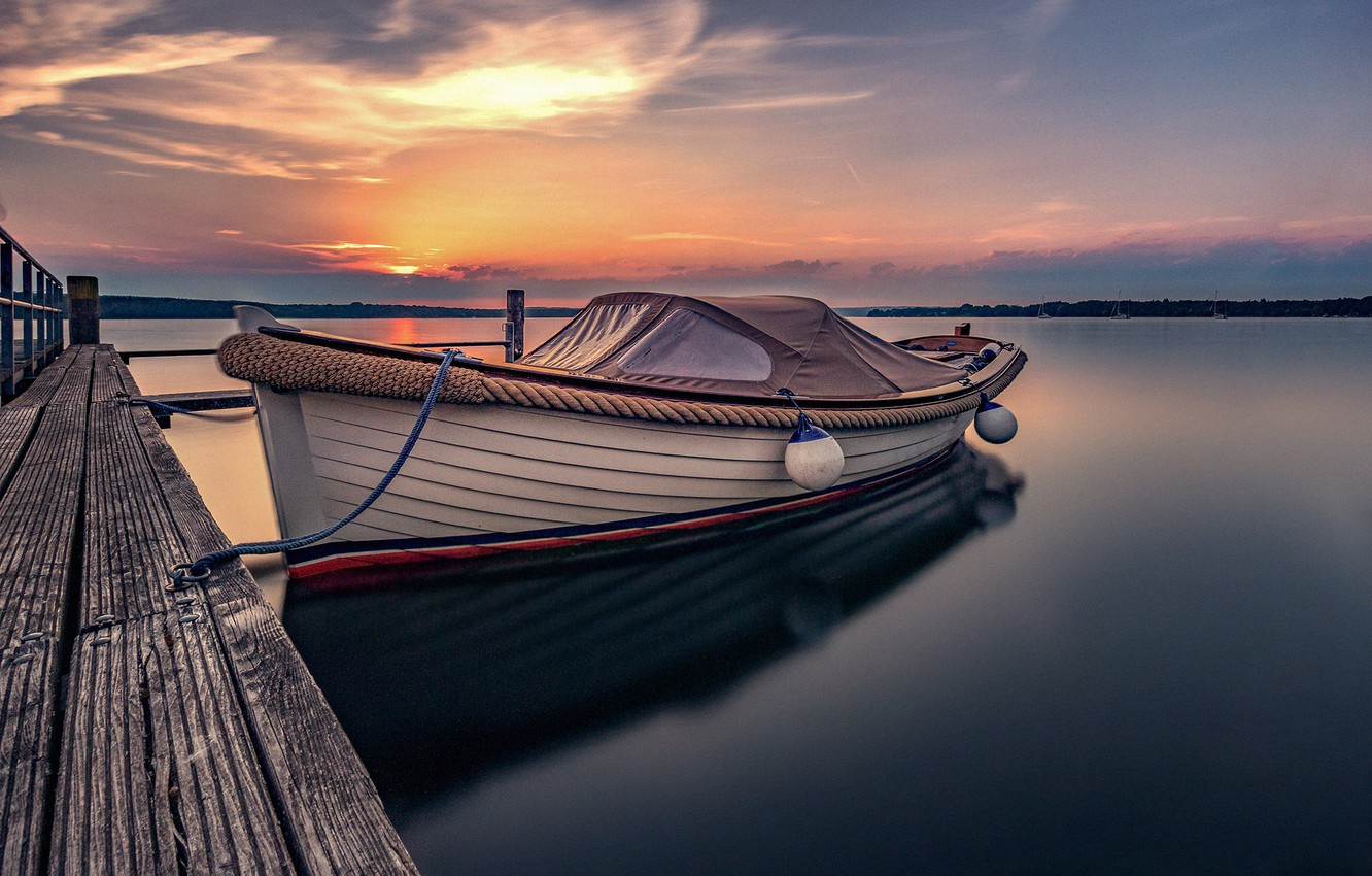Photo wallpaper sunset, lake, boat, pier