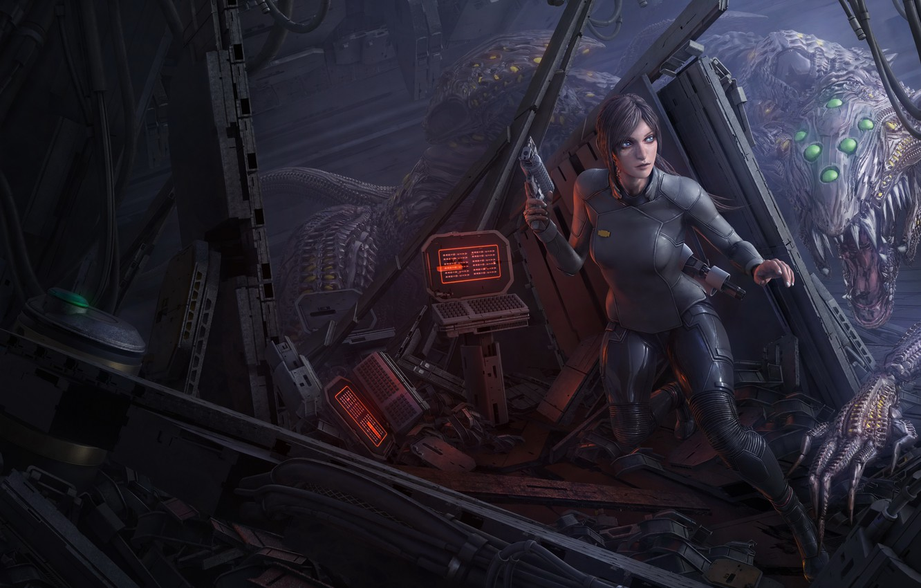 Photo wallpaper girl, space, night, weapons, monsters, iron