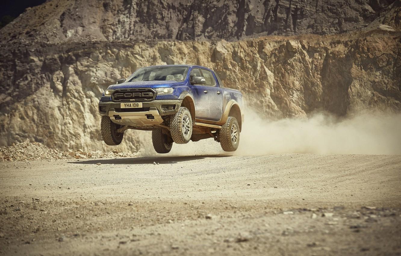 Photo wallpaper jump, Ford, Raptor, pickup, Ranger, quarry, 2019