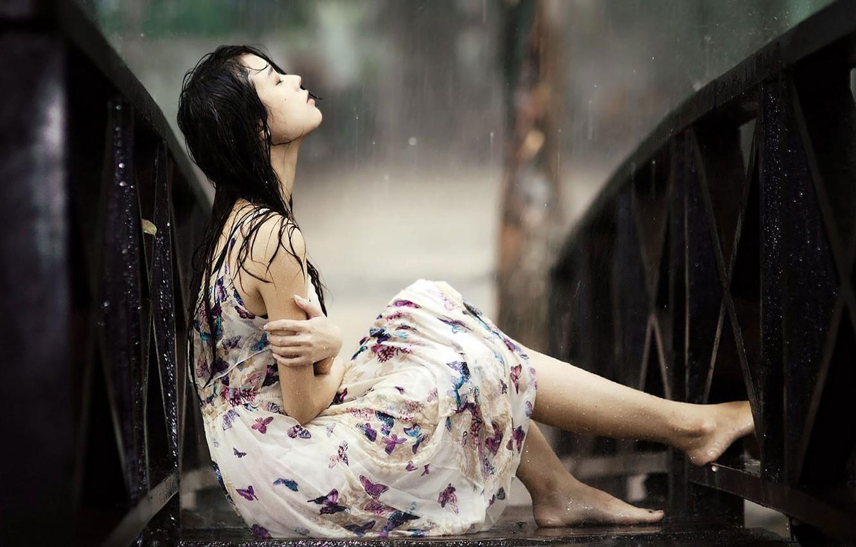 Photo wallpaper wallpaper, girl, rain, dress, background, alone, mood, sadness, blur, asian girl, broken heart, raining, sitting …