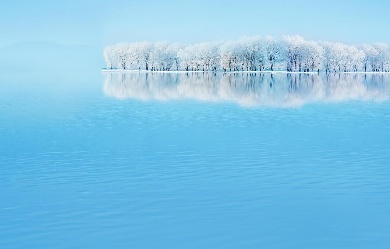 Photo wallpaper winter, landscape, sky blue