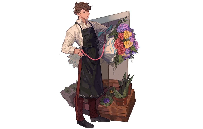 Photo wallpaper flowers, bouquet, guy, Volleyball, Haikyuu, Oikawa Toora, florist