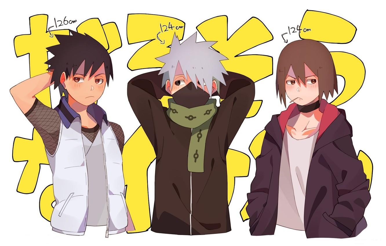 Photo wallpaper scarf, jacket, friends, vest, Sarutobi Located, Hatake Kakashi, Naruto Shippuden, three guys, Naruto shippuuden, Hayate …