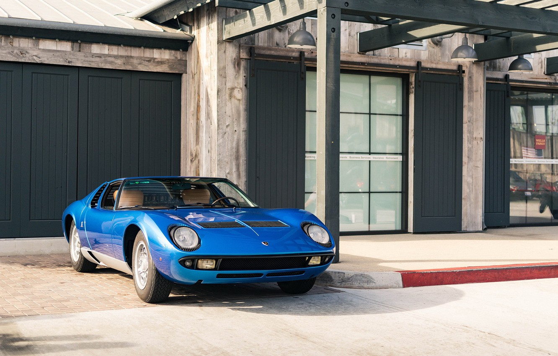 Photo wallpaper Lamborghini, Blue, Miura