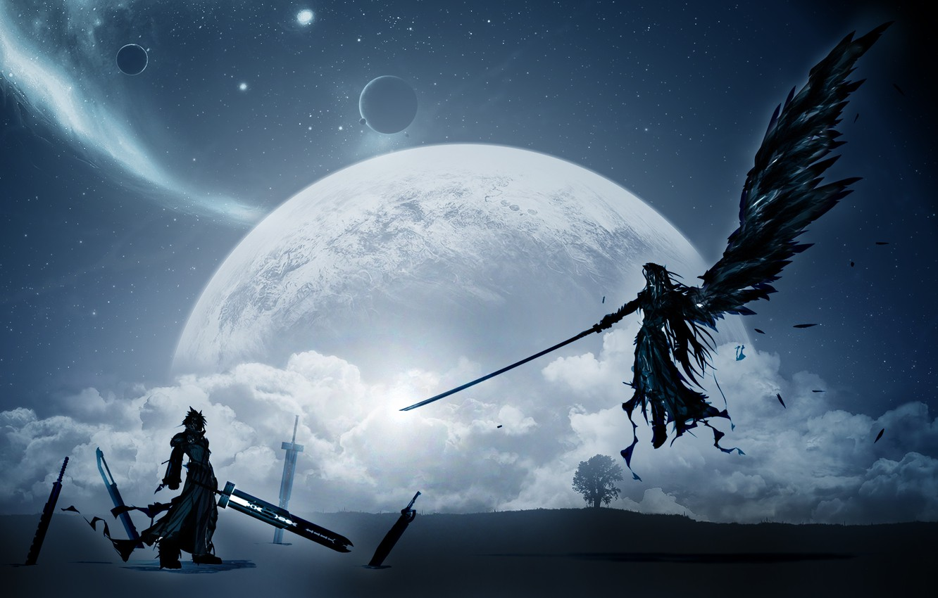 Photo wallpaper the moon, Final Fantasy, Final fantasy, characters, Cloud Strife