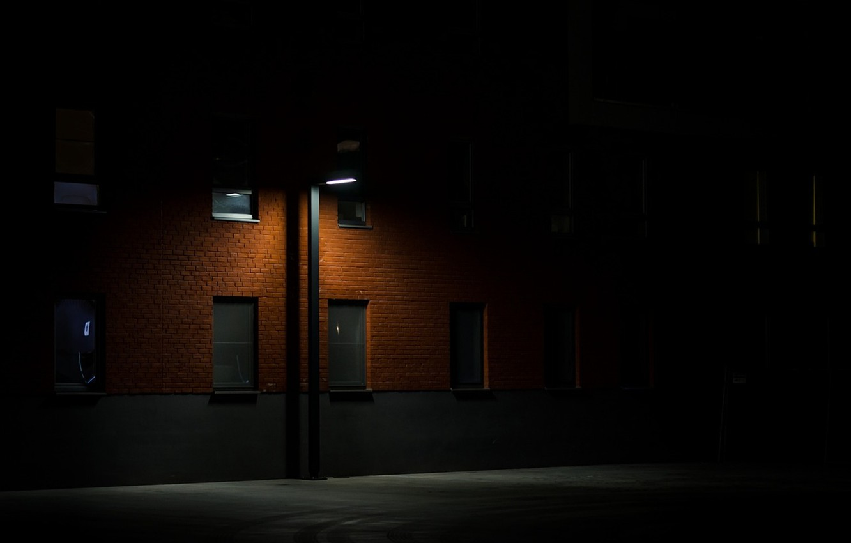 Photo wallpaper night, darkness, street, Windows, lantern