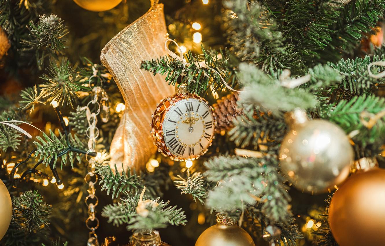 Photo wallpaper balls, decoration, balls, toys, spruce, Christmas, New year, tree, boot