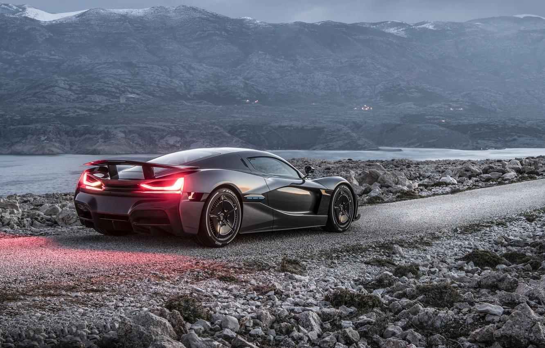 Photo wallpaper lights, supercar, 2018, Rimac, electric car, C-Two