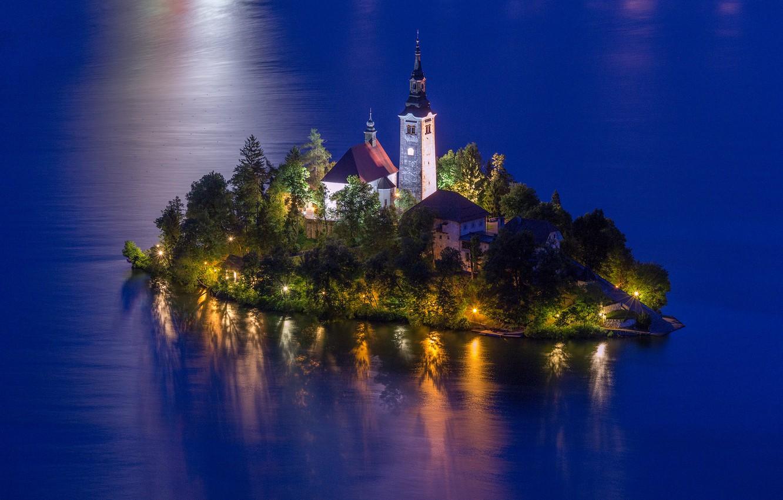 Photo wallpaper water, landscape, nature, lake, the evening, lighting, Church, island, Slovenia, Lake Bled, Lake bled, Bled