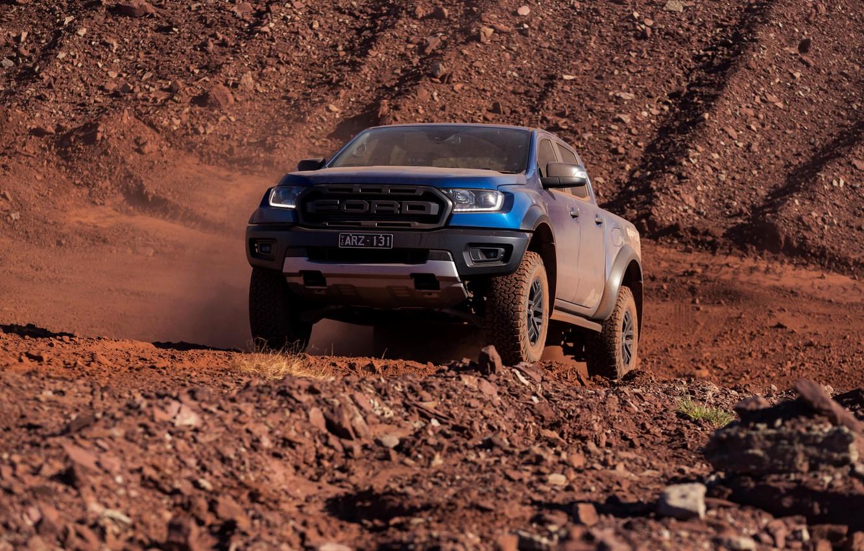 Photo wallpaper blue, Ford, Raptor, pickup, 2018, the ground, Ranger