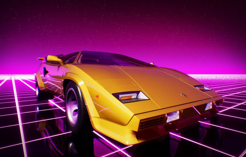 Wallpaper Lamborghini, Machine, Graphics, Neon, Countach