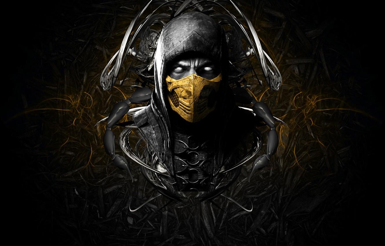 Photo wallpaper face, mask, game, scorpion, face, mortal kombat
