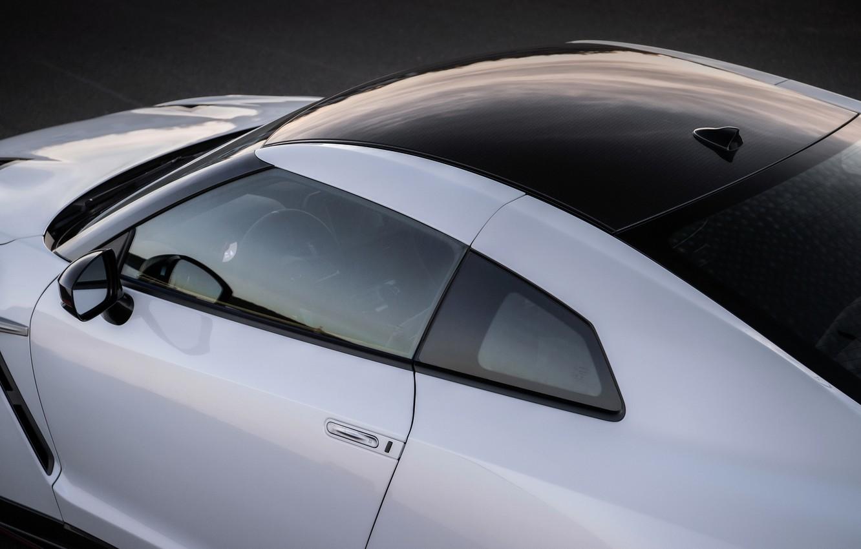 Photo wallpaper roof, white, black, Nissan, GT-R, R35, Nismo, 2020, 2019